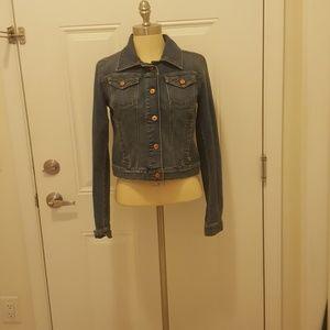 Ann Taylor Loft cropped blue denim jacket